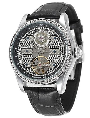 FORSINING Men's Dress Watch Chinese PU Band Luxury / Sparkle / Vintage Black / Brown / Automatic self-winding