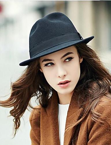 abordables Sombreros de mujer-Mujer Color puro, Algodón Sombrero Fedora - Para la Cabeza Un Color / Otoño / Invierno