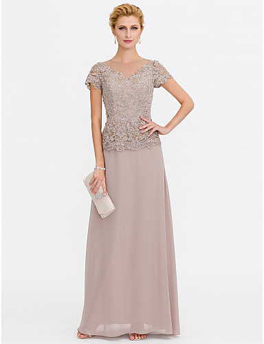 A-Line V Neck Floor Length Chiffon Beaded Lace Mother of the Bride Dress with Beading Lace by LAN TING BRIDE®