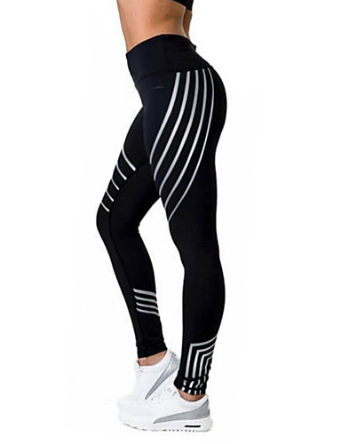 Women's Sporty Legging - Print, Color Block High Waist