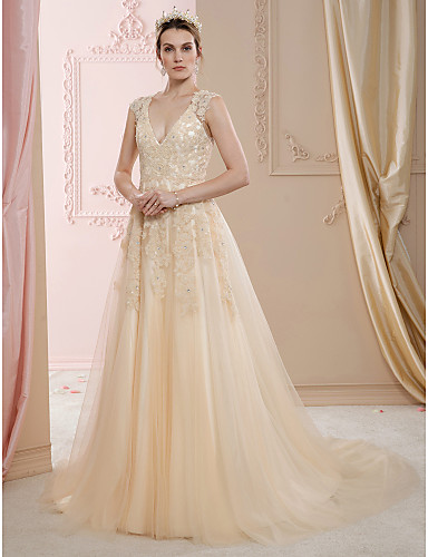 A-Line Princess V Neck Court Train Lace Tulle Custom Wedding Dresses with Beading Appliques by LAN TING BRIDE®