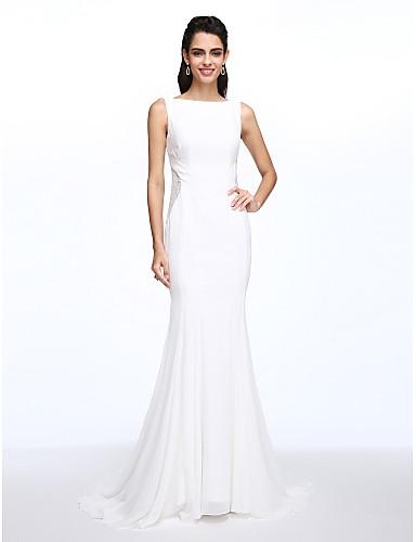 Trompet / Deniz Kızı Bateau Boyun Uzun Kuyruk Şifon Dantel Düğme ile Düğün elbisesi tarafından LAN TING BRIDE®