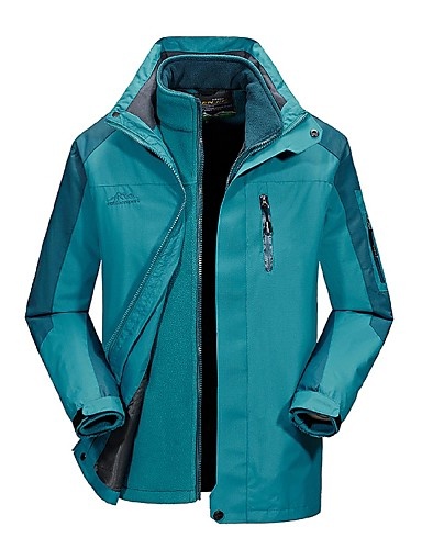 cheap Outdoor Clothing-Men's Hiking Jacket Outdoor Autumn / Fall Winter Windproof Rain Waterproof Breathability Wearable 3-in-1 Jacket Top Full Length Visible Zipper Camping / Hiking Climbing Cycling / Bike Sky Blue / Red