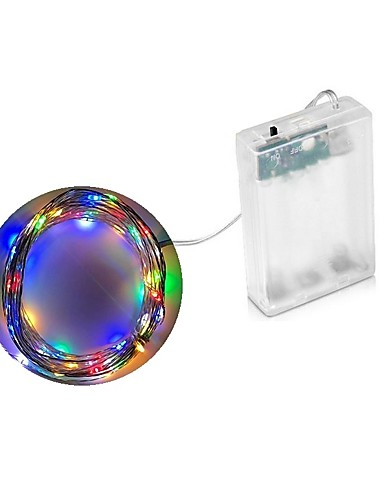 billige Holiday Decoration Light-2m Lysslynger 20 LED Dip Led Varm hvit / Multifarget Vanntett / Fest / Dekorativ AA batterier drevet 1pc / IP44