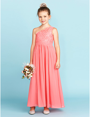 cf4960f9b37 Χαμηλού Κόστους Φορέματα για παρανυφάκια-Γραμμή Α / Πριγκίπισσα Ένας Ώμος  Μέχρι τον αστράγαλο Σιφόν
