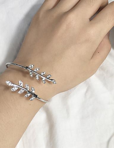 abordables Bracelet Or Rose-Manchettes Bracelets Femme Forme de Feuille dames Mode Bracelet Bijoux Argent Or Rose pour Quotidien