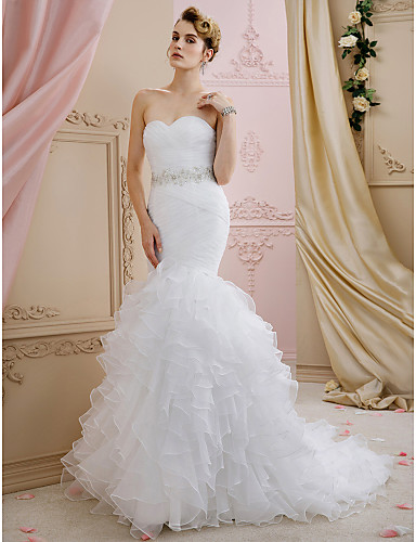 9f02eb7436e ... Sweetheart Neckline Sweep   Brush Train Organza Made-To-Measure Wedding  Dresses with Sashes   Ribbons   Cascading Ruffles by LAN TING BRIDE®   Open  Back