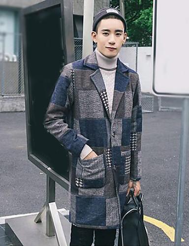 Men's Simple / Casual Long Coat Print / Long Sleeve