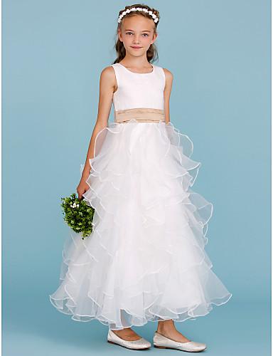 גזרת A באורך הקרסול שמלה לנערת הפרחים - אורגנזה / סאטן ללא שרוולים עם תכשיטים עם סרט / קפלים מדורגים על ידי LAN TING BRIDE®