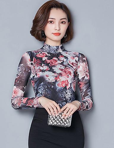 abordables Hauts pour Femmes-Tee-shirt Grandes Tailles Femme Imprimé Mao Orange / Printemps / Automne / Fleur