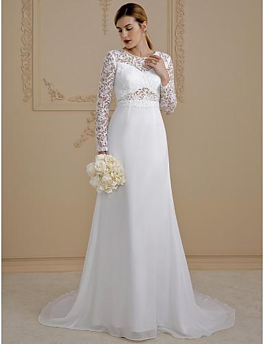 Linha A Ilusão Decote Cauda Corte Chiffon Renda Vestidos de noiva personalizados com Renda Cadarço de LAN TING BRIDE®