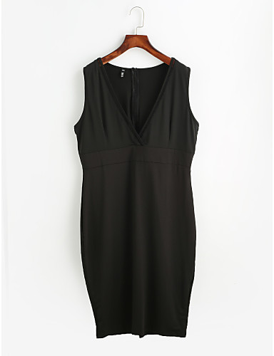 Women's Going out Casual Sheath Dress - Solid Colored V Neck Spring Cotton Black Red