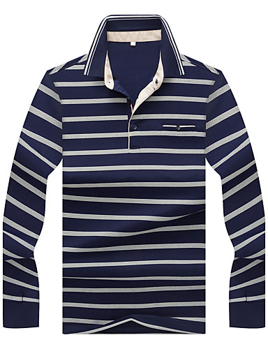 cheap Men's Tees & Tank Tops-Men's Daily Holiday Going out Sophisticated Plus Size Cotton T-shirt - Striped Shirt Collar Blue XL / Long Sleeve / Fall / Winter / Work