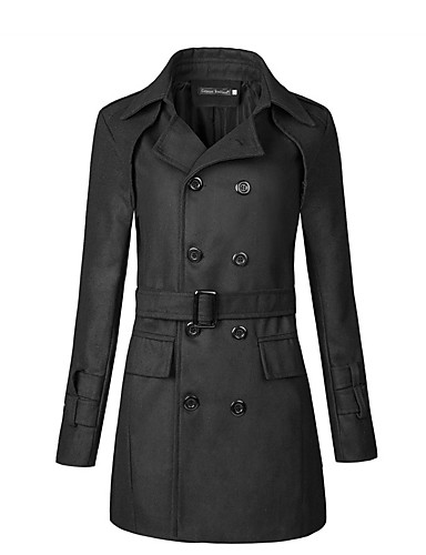 Men's Street chic Plus Size Trench Coat - Solid Colored