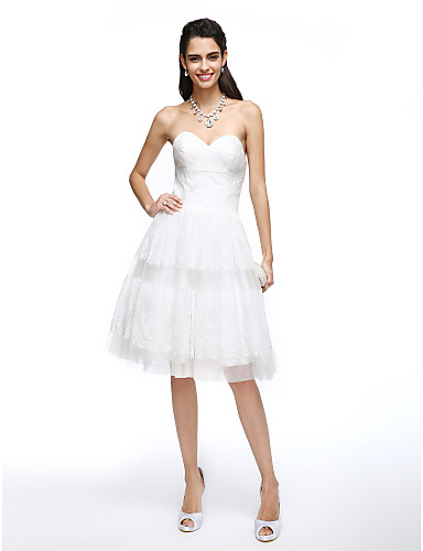 A-Line Sweetheart Neckline Knee Length Lace / Tulle Made-To-Measure Wedding Dresses with Criss-Cross by LAN TING BRIDE® / Little White Dress