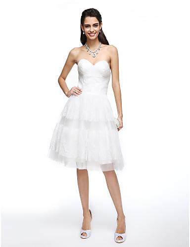 A-라인 스윗하트 무릎 길이 레이스 / 튤 Made-To-Measure 웨딩 드레스 와 크리스-크로스 으로 LAN TING BRIDE® / 리틀 화이트 드레스