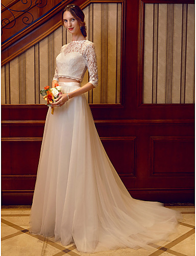 Two Piece Illusion Neck Court Train Tulle Over Lace / Corded Lace Made-To-Measure Wedding Dresses with Sashes / Ribbons by LAN TING BRIDE®