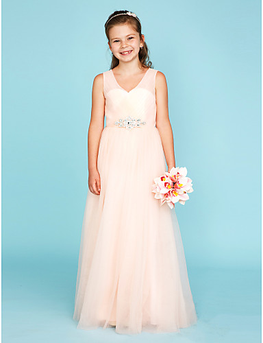 A-Line Princess V Neck Floor Length Tulle Junior Bridesmaid Dress with Crystal Detailing Criss Cross by LAN TING BRIDE®