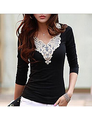Alkalmi V-alakú Női Póló - Hímzés Fekete-fehér