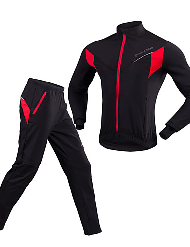cheap Cycling Clothing-Realtoo Men's Women's Long Sleeve Cycling Jacket with Pants Solid Color Bike Clothing Suit Windproof Winter Sports Solid Color Mountain Bike MTB Road Bike Cycling Clothing Apparel / Stretchy