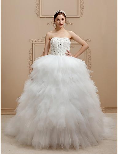 Prinses Strapless Kathedraalsleep Tule / Stretchsatijn Op maat gemaakte trouwjurken met Kralen / Gelaagd door LAN TING BRIDE® / Open rug