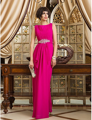 cheap Prom Dresses-Sheath / Column Bateau Neck Floor Length Chiffon Prom / Formal Evening Dress with Beading / Side Draping / Ruched by TS Couture®