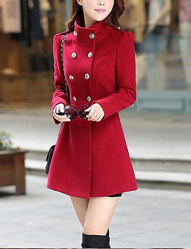 Women's Basic Coat - Solid Colored Stand