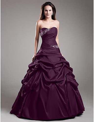 cheap Quinceanera Dresses-Ball Gown Strapless Floor Length Taffeta Vintage Inspired Formal Evening Dress with Beading / Side Draping by TS Couture®