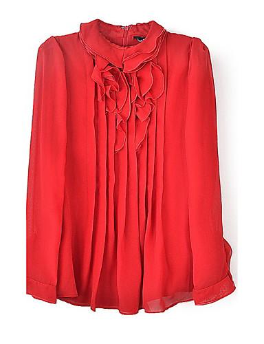 billige Topper til damer-Skjorte Dame - Ensfarget, Drapering Vintage / Gatemote / Sofistikert Ut på byen / Arbeid