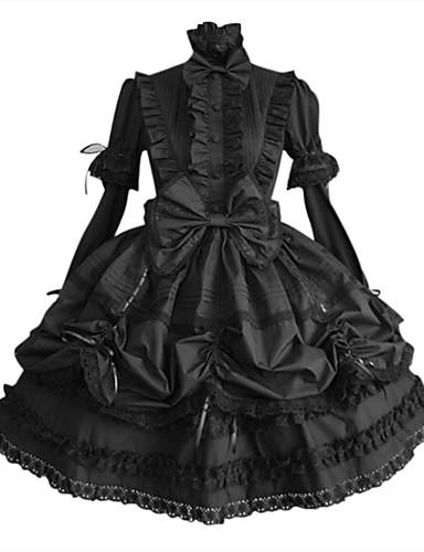 billige Lolita Mote-Prinsesse Gothic Lolita Punk Plusstørrelse Kjoler Dame Jente Bomull Japansk Cosplay-kostymer Store størrelser Tilpasset Svart Ballkjole Ensfarget Puffermer Langermet Medium Lengde / Gotisk Lolita