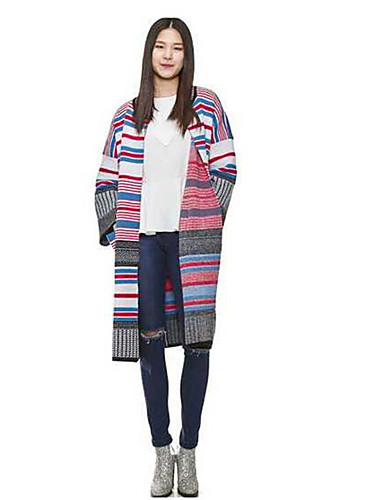 Women's Simple Long Sleeve Wool Long Cardigan - Striped / Fall