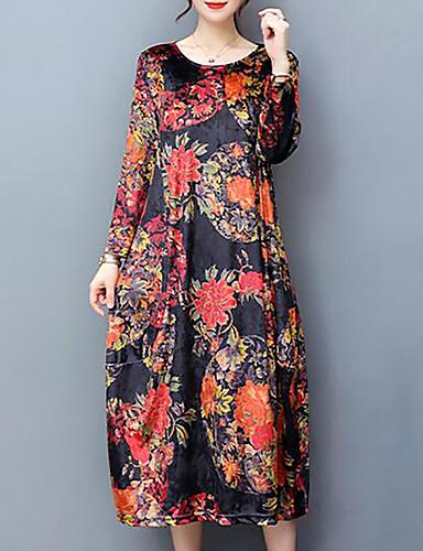 Women's Plus Size Going out Velvet Loose Dress - Floral