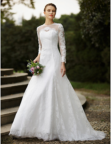 A-Line Jewel Neck Sweep / Brush Train Lace Made-To-Measure Wedding Dresses with Beading / Appliques / Buttons by LAN TING BRIDE®