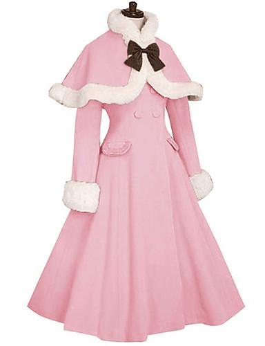 abordables Disfraces de Lolita-Princesa Amaloli Al Aire Libre Detalles en Piel Femenino Mujer Chica Abrigo Cosplay Azul / Rosa / Fucsia Manga Larga Hasta la Rodilla Disfraces