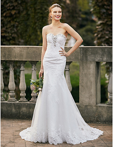 Mermaid / Trumpet Sweetheart Neckline Chapel Train Lace / Tulle Made-To-Measure Wedding Dresses with Beading / Appliques by LAN TING BRIDE® / Open Back