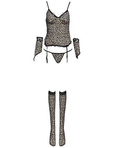 Női Sexy Harisnyakötős fehérnemű / Ultra szexi / Ruhák Hálóruha Leopárd