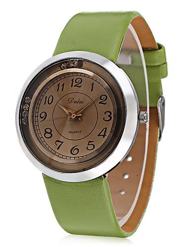 JUBAOLI Women's Wrist Watch Quartz Casual Watch Cool Leather Band Analog Charm Casual Fashion Black / White / Brown - Black Coffee Light Green