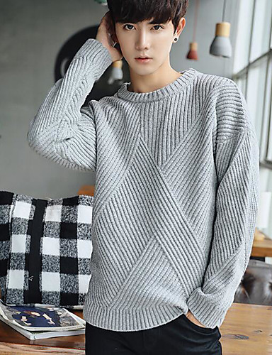 Men's Casual Long Sleeve Pullover - Solid Colored Round Neck