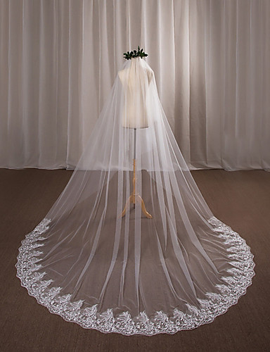 One-tier Wedding Veil Cathedral Veils 53 Appliques Lace Tulle