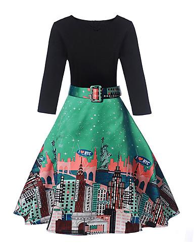 צווארון V מידי דפוס, קולור בלוק - שמלה גזרת A סגנון רחוב ליציאה בגדי ריקוד נשים