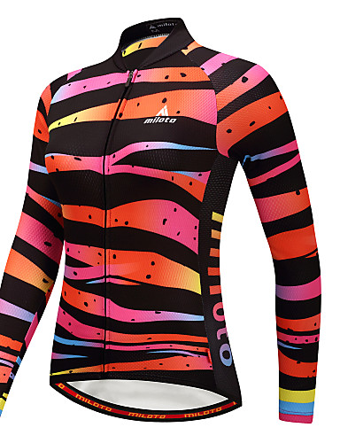 cheap Cycling Clothing-Miloto Women's Long Sleeve Cycling Jersey Camouflage Plus Size Bike Jersey Top Sports Winter Polyster Mountain Bike MTB Road Bike Cycling Clothing Apparel / Stretchy