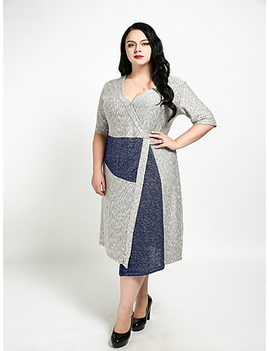 Cute Ann Women's Plus Size Vintage Cute Sheath Dress - Color Block V Neck