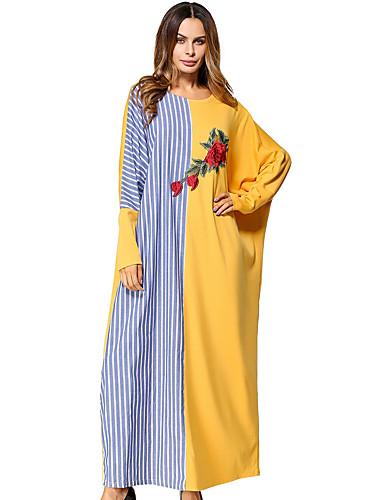 Women's Going out Street chic Batwing Sleeve Jalabiya Dress - Embroidered Maxi