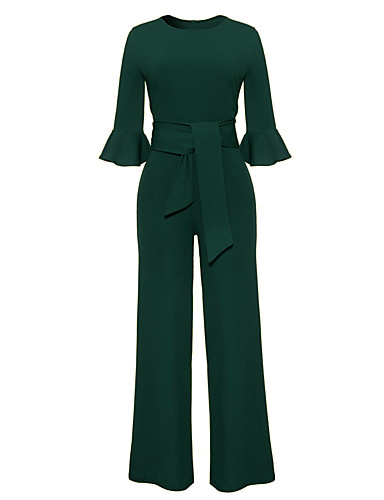 5b5f896bcc7b Women s Flare Sleeve Wide Leg Daily   Work Street chic Red Yellow Royal  Blue Wide Leg Jumpsuit