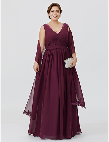 Sheath / Column V Neck Floor Length Chiffon Mother of the Bride Dress with Appliques / Sash / Ribbon / Criss Cross by LAN TING BRIDE® / Wrap Included