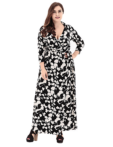 Women's Plus Size Going out Sophisticated Loose Sheath Swing Dress - Geometric Cut Out Print High Rise Maxi V Neck