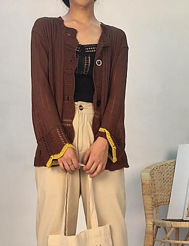 Damen Langarm Strickjacke-Solide V-Ausschnitt