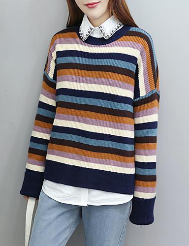 Damen Standard Pullover-Ausgehen Lässig/Alltäglich Gestreift Einfarbig Rundhalsausschnitt Langarm Baumwolle Andere Dünn Mittel