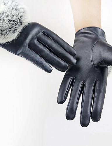 Damskie Jednolity kolor / Akcesoria / Rękawiczki zimowe Do nadgarstka Czubki palców Rękawiczki - PU, Solidne kolory / Zima