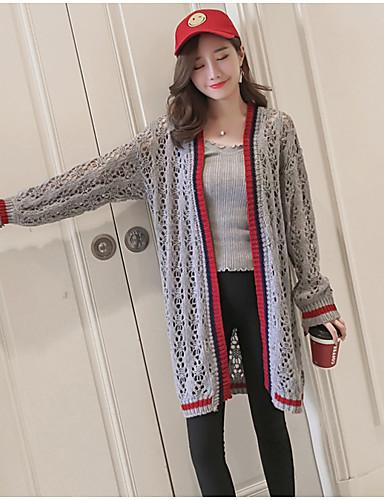 Damen Standard Strickjacke-Lässig/Alltäglich Einfarbig V-Ausschnitt Langarm Acryl Mittel Dehnbar